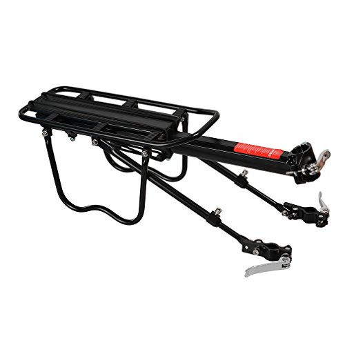 Photo of ROCKBROS Bike Rear Rack Bicycle Rear Luggage Carrier Holder Cycling Seat Post Rack Quick Release Bike Rear Pannier Rack Black