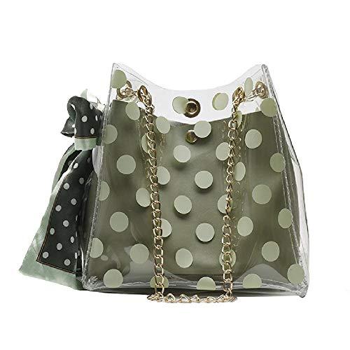 Las mujeres transparente bolsa Dot bucket bag Transparente Mujeres Bolsas de Hombro Señoras Mensajero Casual Compras Bufandas Bolsos, color Verde, talla Medium