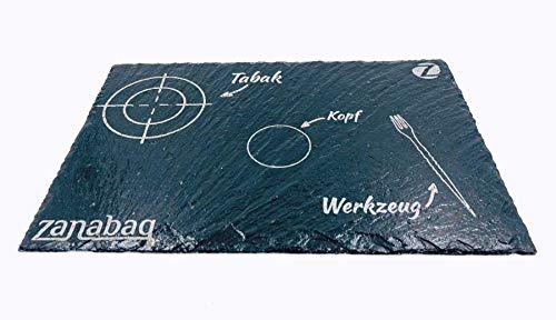 Zanabaq Board | Tabla de mezcla cachimba | Placa de pizarra española | 30cm x 20cm x 1cm | Design contornos