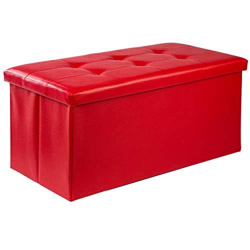 ONVAYA® Sitztruhe mit Stauraum | Aufbewahrungskiste mit Sitzbank | rot | Gepolsteter Sitzhocker | Aufbewahrungsbank