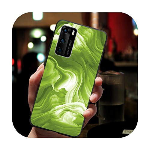 Funda para Huawei P30 Lite, color verde mármol negro suave para Huawei P40 P30 P20 P10 Pro lite P9 Lite nova 4E 6SE Psmart 2019 Y6 9 Prime-H20020510-07.jpg-Para Huawei P30 Lite