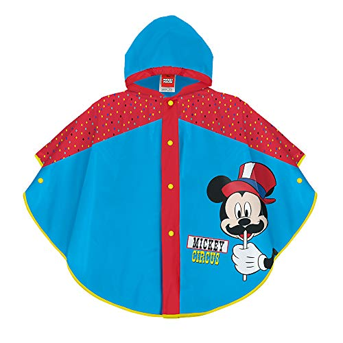 PERLETTI Chubasquero Lluvia Niño Mickey Mouse Azul Claro - Poncho Impermeable Infantil Disney - Turquesa y Rojo con Capucha Botones - Estampado Ratón Mickey Circus (Azul, 3/6 Años)