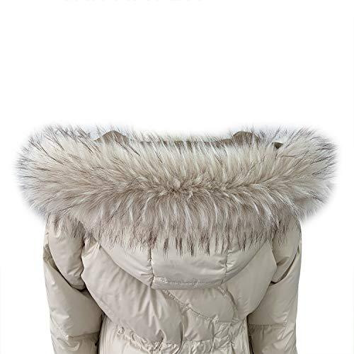 VEVESMUNDO Desmontable Cuello de Pelo Bufanda Estola del Cuello de Sintetica Postizo Piel Para Otoño Invierno Abrigo Chaqueta Chaleco Parka (Cuello de piel 75cm de largo, Beige)