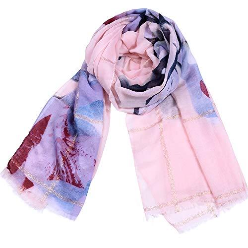 Dhmm123 Bufandas cálidas Estampado Floral de Las Mujeres Bufandas largas Bufanda cálida Suave Abrigo del mantón Estola Larga (Color : Pink)