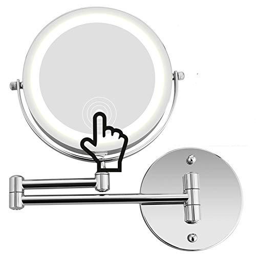Namotu Kosmetikspiegel mit LED Beleuchtung, Kosmetikspiegel beleuchtet wandmontage, vergrößerungsspiegel 1x/10xFach - 360° Horizontal Schwenkbar und Vertikal, Metall Verchromt
