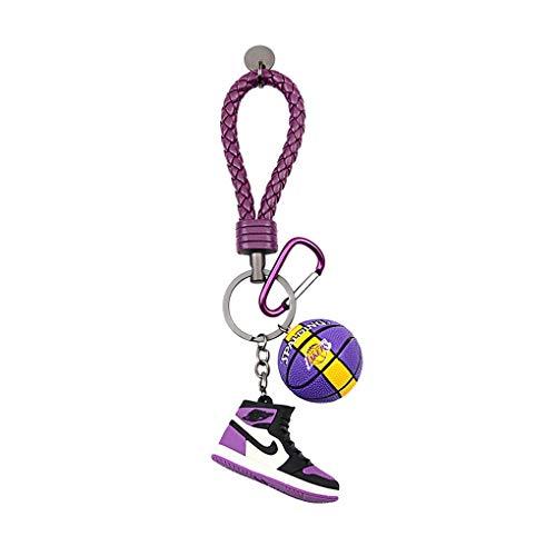 kxt Molde de Zapato Llavero 3D Creativo NBA Baloncesto Llavero Mini Zapatos de Baloncesto Mochila Colgante Regalo Personalizado Masculino (Color : Purple)