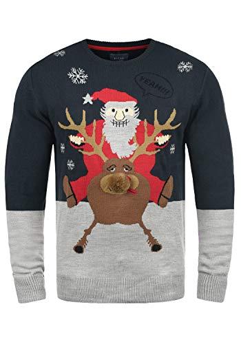 Blend Rudolph Herren Strickpullover Weihnachtspullover Mit Rundhalsausschnitt, Größe:L, Farbe:Dark Navy/Santa (74676)