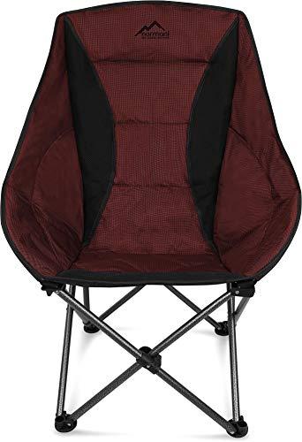 normani Deluxe Campingsessel Relaxsessel XXL Moonchair Schalensitz- Comfort Camping-Stuhl - Gepolsterter Outdoor Klappstuhl, Traglast: 150 Kg (330 lbs) Farbe Rot
