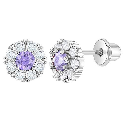 Rhodium Plated Flower Lavender Purple Clear Crystal Screw Back Baby Girls Earrings