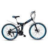 Mountain Bike Pieghevole da 26 Pollici Bicicletta A Doppio Assorbimento degli Urti Ruota Posteriore A Doppio Freno A Disco con Sospensione Posteriore,Blu,21speeds
