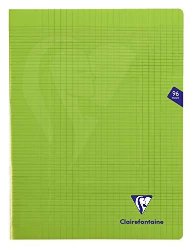 Clairefontaine 353361C - Un cahier piqué Mimesys 96 pages 24x32 cm 90g grands carreaux, couverture polypro (plastique), Vert