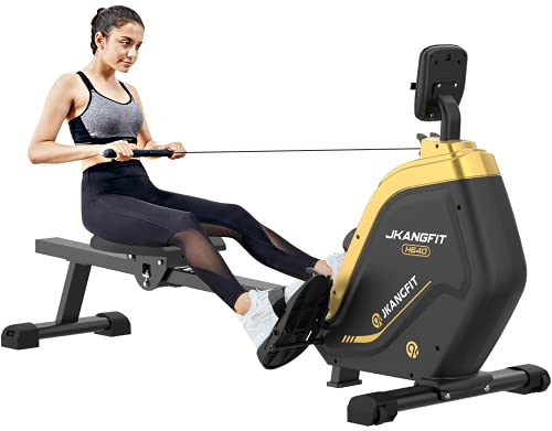 JKANGFIT Folding Rowing Machine - Rowing Machines for Home Use Indoor Magnetic Rower for Full Body with 16 Levels Resistance LCD Monitor Device Holder (Training)