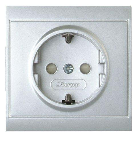 Kopp 923420087 Malta Schutzkontakt-Steckdose mit erhöhtem Berührungsschutz, silber, 1-Fach