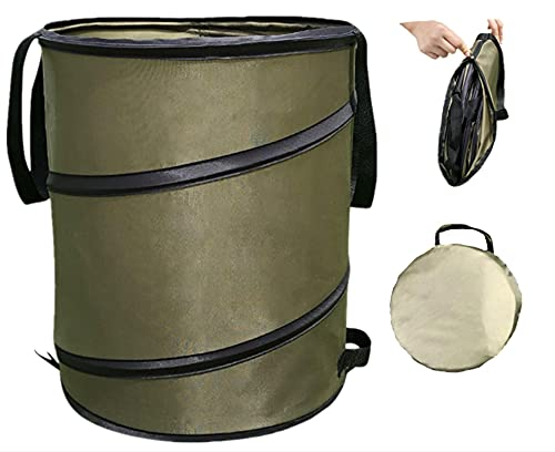 Pop-Up Trash Can/Recycle Bin,Reusable Yard Waste Bags,Garden Lawn Bags,Leaf Bag Holder,Collapsible Trash Can,Portable Garbage Bin,10 Gallon Trash Bags for Gardening/Camping