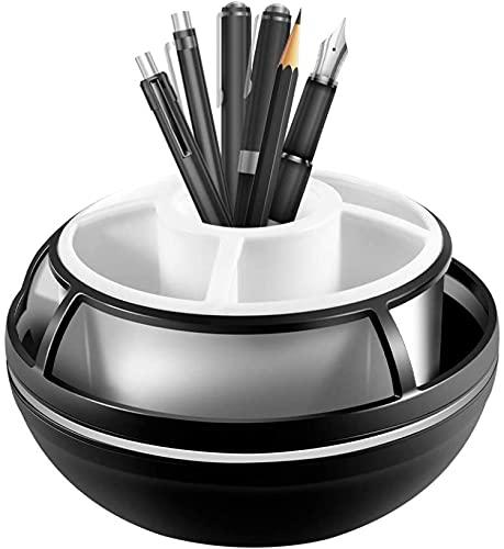 BERTY·PUYI Portabolígrafos Giratorio Organizador De Escritorio Giratorio con Capa Intermedia Y Diseño Giratorio para Acabado De Papelería De Oficina