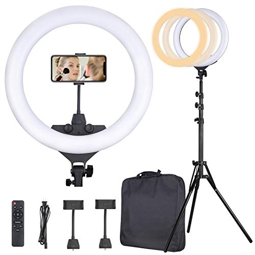 Ring Light 22 Inch 65W LED Ringlight Kit with Tripod Stand with Phone Holder Adjustable Color Temperature Circle MUA Lighting for iPhone Camera, Makeup, YouTube, Video Shooting, Selfie