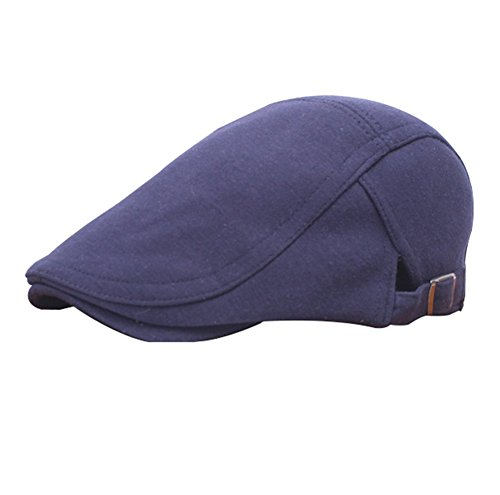 Fablcrew 1pcs Hommes Chapeau Réglable béret Noir Casquette Plate Vintage Rétro Homme Chapeau Unisexe Réglable Chapeau (Bleu Foncé)