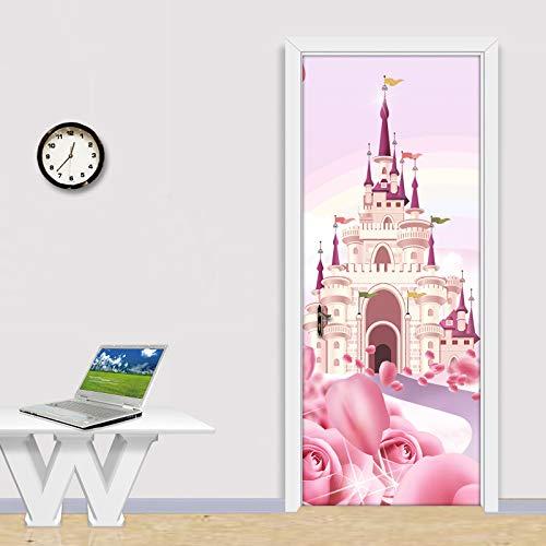Cartoon Roze Kasteel 3D Fotobehang Voor Kinderkamer Meisjes Prinses Slaapkamer Deursticker Pvc Zelfklevende Waterdichte Muurschildering