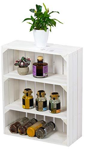LAUBLUST Küchenregal Vintage Used Look - ca. 40 x 17 x 50 cm, Holz, Weiß - Gewürzregal Hochformat 2 Regalböden