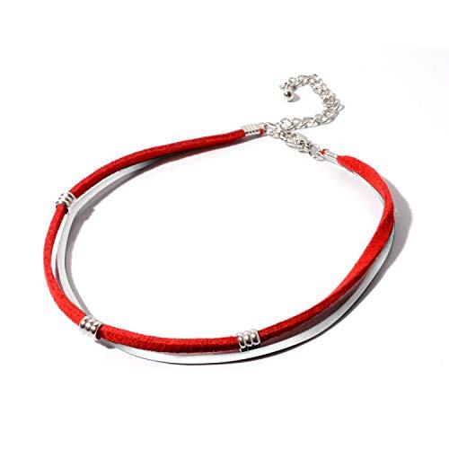 [NARU] 本革 レザー コード アンクレット メンズ レディース ペア おそろい カップル つけっぱなし シンプル 人気 ブランド 2連 赤 レッド