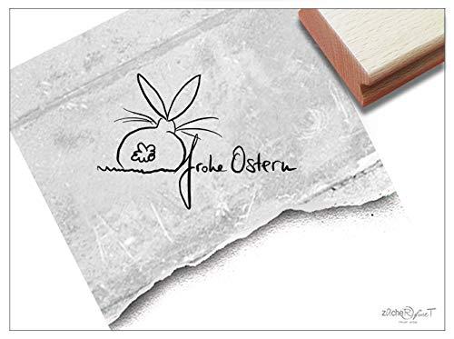 Stempel - Osterstempel Frohe Ostern mit Hase (klein) - Motivstempel für Ihre Osterpost - Süßer Textstempel/Schriftstempel für große und kleine Hände - von zAcheR-fineT (ca. 27 x 40 mm)