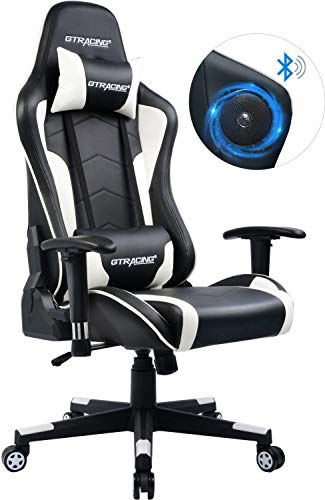 GTRACING Gaming Chair with Bluetooth Speakers Music Video Game Chair Audio【Patented Design】 Heavy Duty Ergonomic Office Computer Desk Chair GT894M Blue chair gaming white