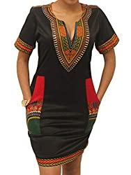 Bodycon Dashiki African Midi Dresses Bohemian Vintage Club Dress with Pocket