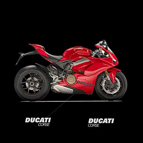 Vulturbike Seitliche Aufkleber Ducati Corse - Ducati Panigale V4 2018/2020 (Silber Metallic)