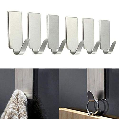 Juego de 6 ganchos autoadhesivos para puerta de cocina, de la marca ukYukiko, de acero inoxidable