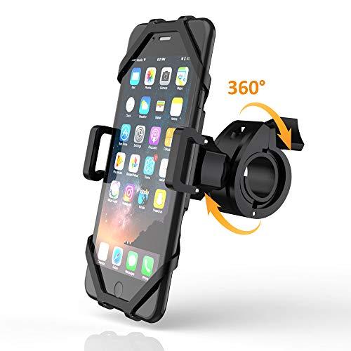 MustWin Handyhalterung Fahrrad Universal Motorrad Handy Halterung 360° Drehbar Handyhalter mit Gummiband Doppel Schutz für iPhone Samsung 4-6,5 Zoll Smartphone Anti-Shake für MTB Rennrad Lenker