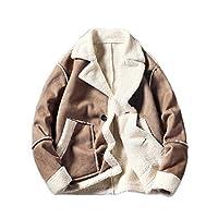 [ユリカー] メンズ ムートンコート アウター ジャケット ブルゾン スエード 厚手 裏起毛 防寒 防風 カジュアル 大きいサイズ ファッション カーキM