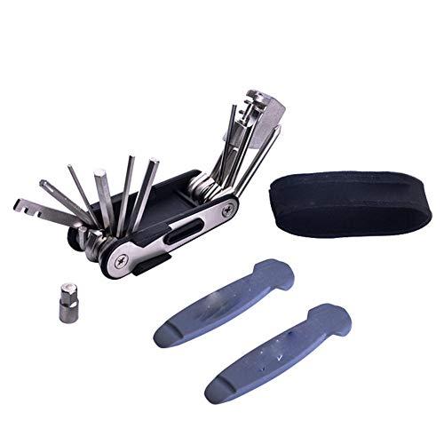Wscmd - Kit de reparación de bicicletas multiusos 14 en 1, mini portátil, reparación de bicicletas de carretera, etc.