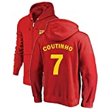 Philippe Coutinho # 7 Reißverschluss Sweatshirt gepolsterter Hoodie Fußball Trikot Fan Trikot Außen Sweatshirt Strickjacke Herbst und Winterkleidung Urlaub Geschenk ( Color : Red , Size : XXX-Large )