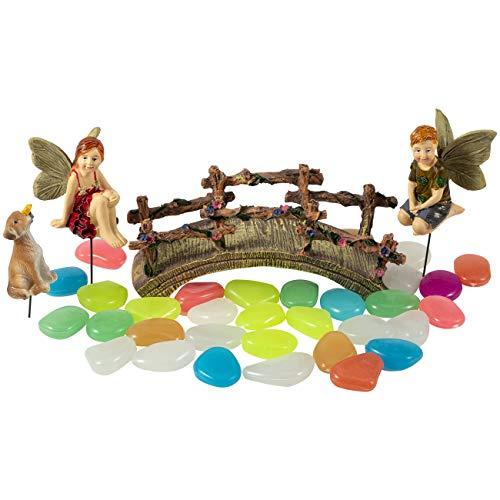 JelyArt Decorazione da esterni in miniatura di fata, per esterni, in resina, fai da te, decorazione da giardino (mini fata, bambino, ponte, cane, pietra fluorescente)