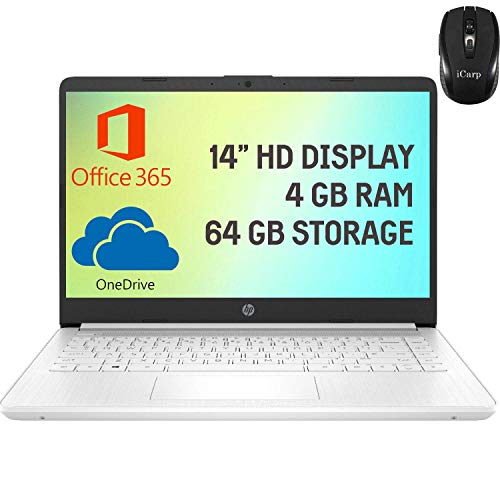 HP Stream 14 Laptop Computer 14' HD Micro-Edge Display Intel Celeron N4020 4GB RAM 64GB eMMC Intel UHD Graphics 600 WiFi HDMI USB-C Webcam Office 365 Win 10 (White) + iCarp Wireless Mouse