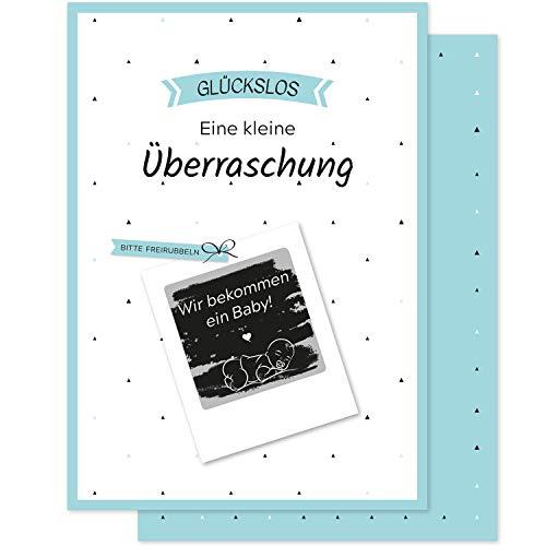 5 RUBBELLOSE WIR BEKOMMEN EIN BABY - du wirst Papa Oma Opa + mehr - Gutschein-Karte für die Schwangerschaft - Geschenk-Idee personalisiert - Glückwunsch Rubbelkarte Schwanger Geburt Post-Karte Set