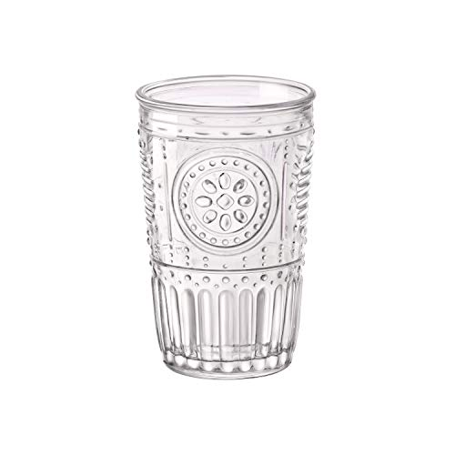 Bormioli Rocco Romantic Water Glass [Set Of 4] | 10.25 oz Premium Glass Set For Refreshments, Soda & Beverages | Italian Quality Glassware, Perfect For Dinner Parties, Bars & Restaurants