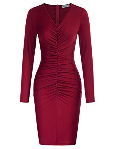 Womens Long Sleeve Sexy V-Neck Bodycon Dress Night Club Party Dress Wine Red XXL