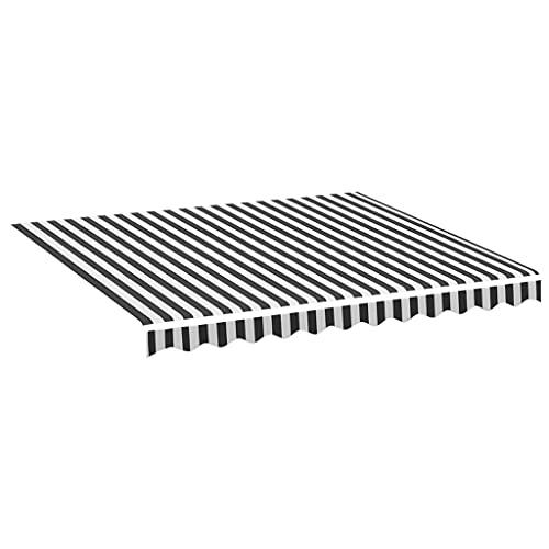 vidaXL Tela de Repuesto para Toldo Parte Superior Dosel Lona Recambio Jardín Patio Terraza Balcón Parasol Refugio Gris Antracita y Blanco 3x2,5 m