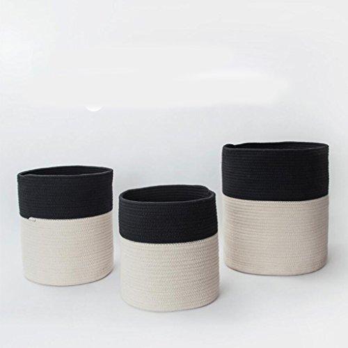 Xuan - Worth Another Fil de Coton Noir et Blanc Panier de Rangement Sales vêtements Panier Sales vêtements Seau boîte de Rangement Jouet boîte rotin (Taille : Moyen)