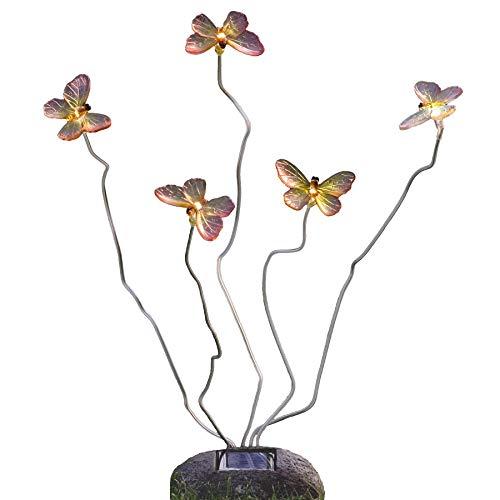 Konstsmide Assisi 7628-000 Solarmotivleuchte Schmetterling / B: 15cm H: 53cm / 5 weiße LED / Steinoptik / Kunststoff