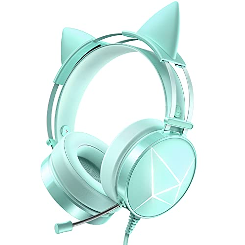 WodnHoak Green Gaming Headset for PC, PS4 Headset with Detachable Cat Ear Headphones, Xbox One Headset with Noise Canceling Microphone, PS5 Headset with 7.1 Surround Sound, LED Lights
