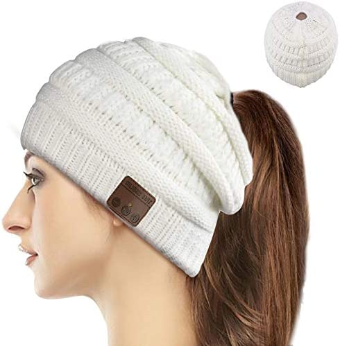Wireless Music Beanie Women Ponytail Hat Overear Headset Sports Stereo Headphone with Microphone product image