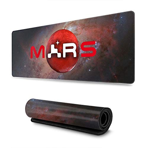 NASA Mars 2020 Perseverance Rover Mouse Pad Gaming Mouse Pads with Stitched Edge Large Non-Slip Rubber Base Mouse Mat for Laptops Computers,11.8x31.5 Inch