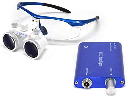 Ocean Aquarius Blue Surgical Binocular Loupes 3.5X 420mm Working Distance Optical Glass with LED Head Light Lamp+Aluminum Box(Blue)