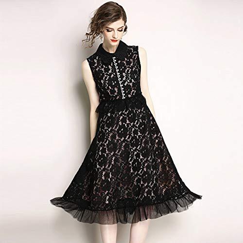 QUNLIANYI Femme Longue Petite Robe Noire Maille Patchwork Midi Robes Femmes sans Manches Slim Élégant De Haute Qualité Bureau Dames Porter XL