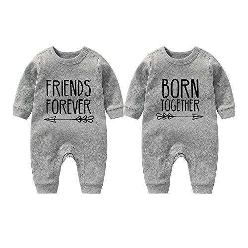 culbutomind - Divertido pelele para bebé, con diseño de mejores amigos, regalo para recién nacido, gris, 0-3 Meses
