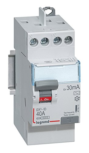 Legrand 411611 Interrupteur différentiel DX³-ID arrivée haute et départ haut à vis, 2P, 230V, 40A typeAC, 30mA, 2 modules
