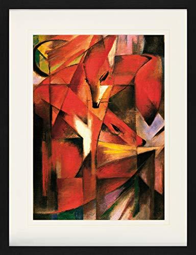 1art1 Franz Marc - Füchse, 1913 Gerahmtes Bild Mit Edlem Passepartout | Wand-Bilder | Kunstdruck Poster Im Bilderrahmen 80 x 60 cm