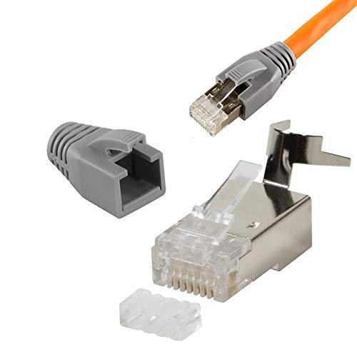 SatShop-FT Cat7 Netzwerkstecker RJ45 Crimp Stecker 10x Netzwerk Modular mit Zugentlastung Knickschutz Tülle Einführhilfe für Verlegekabel Cat 7 Cat6a Cat6 AWG23 8 polig Plug (10x, RJ 45)